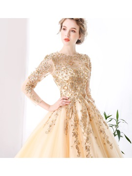 Jewel Ball Gown Lace Pearls Floor-Length Quinceanera Dress