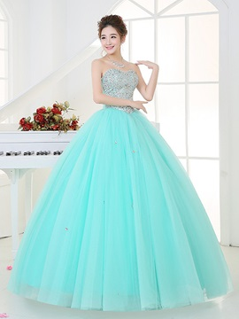 Noble Sweetheart Sequins Ball Gown Beaded Floor-Length Quinceanera Dress