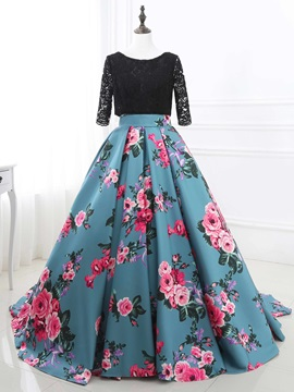 Unique Bateau Ball Gown Half Sleeves Lace Printed Sweep Train Quinceanera Dress