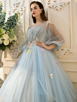 Charming Scoop Ball Gown Pearls Pleats Quinceanera Dress