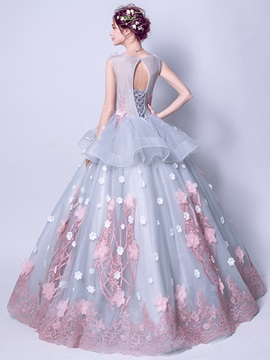 Charming Scoop Appliques Flowers Ball Gown Sashes Pearls Floor-Length Quinceanera Dress