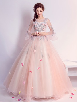 Stylish Ball Gown Appliques Flowers Pearls Scoop Floor-Length Quinceanera Dress