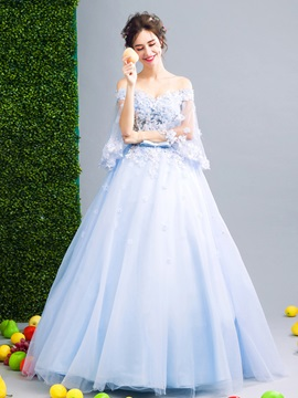 Off-the-Shoulder Beading Bowknot Off-the-Shoulder Flowers Sashes Floor-Length Quinceanera Dress