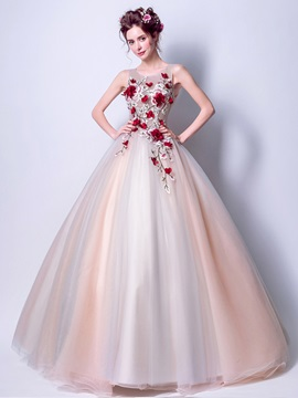 Nice Ball Gown Embroidery Floor-Length Quinceanera Dress
