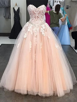 Appliques Sweetheart Ball Gown Beading Floor-Length Quinceanera Dress