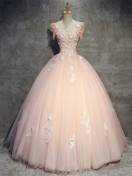 Flowers Appliques Beaded Lace Scoop Quinceanera Dress
