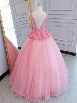 Scoop Beading Bowknot Lace Sashes Floor-Length Quinceanera Dress