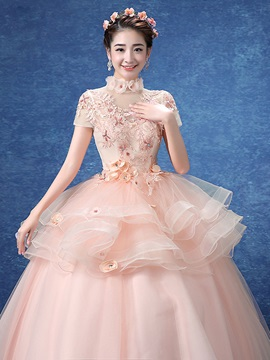 Ruched Appliques Flowers Short Sleeves Quinceanera Dress
