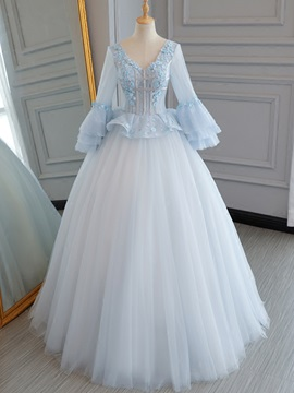 Charming V-Neck Flowers Lace Pearls Quinceanera Dress