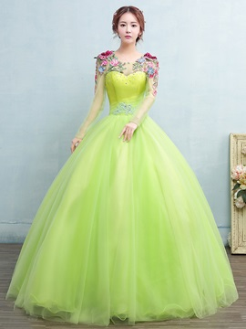 Long Sleeves Appliques Beading Embroidery Quinceanera Dress