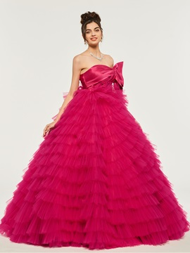 Strapless Empire Tiered Bowknot Quinceanera Dress