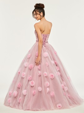 Beading Sweetheart Appliques Flowers Quinceanera Dress