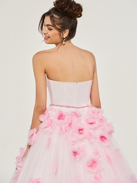 Flowers Sweetheart Tulle Quinceanera Dress