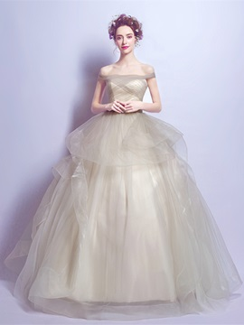 Off-the-Shoulder Short Sleeves Pleats Quinceanera Dress