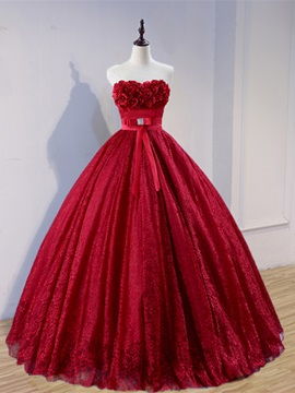 Sweetheart Flowers Lace Quinceanera Dress