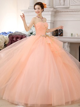 Strapless Appliques Floor-Length Ball Gown Quinceanera Dress 2019