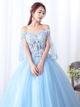 Ball Gown Appliques Off-The-Shoulder Floor-Length Quinceanera Dress 2019