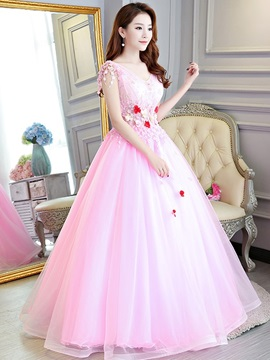 Ball Gown Floor-Length Appliques V-Neck Quinceanera Dress 2019