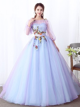 3/4 Length Sleeves Ball Gown Appliques Floor-Length Quinceanera Dress 2019