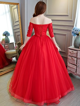 Floor-Length Lace Off-The-Shoulder Ball Gown Quinceanera Dress 2019