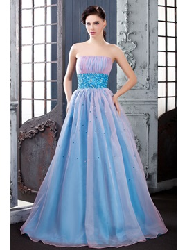 Graceful A-Line Floor-Length Strapless Empire Waistline Beading Polina's Quincaenera/Prom Dress