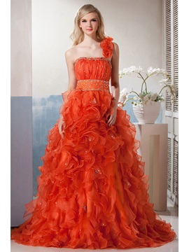 Dramatic One Shoulder Ruffles Flowers Beading Long Yana's Quinceanera Dress