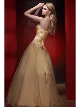 Vintage A-Line Strapless Appliques Floor-Length Dasha's Prom/Quinceanera Dress
