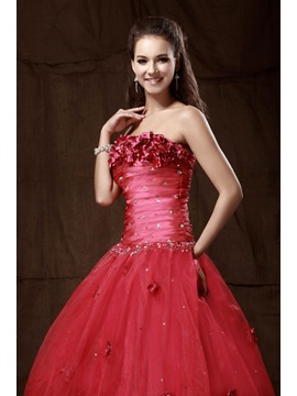 Brilliant A-Line Strapless Empire Flowers Sequins Lace-up Long Sandra's Prom/Quinceanera Dress