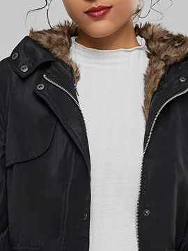 Winter Faux Fur Sections Liner Hooded Women's Overcoat