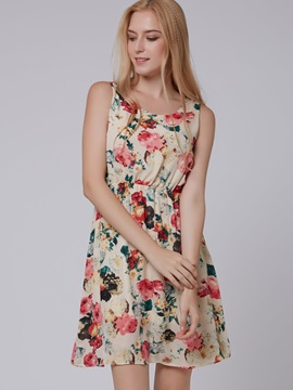 Tidebuy U Neckline Floral Day Dress