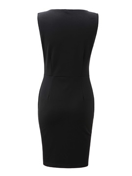 PU Joint Sleeveless Women's Bodycon Dress