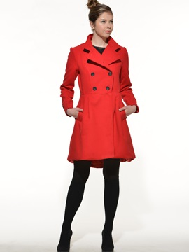 Stylish Collar Big Hem Slim Trench Coat