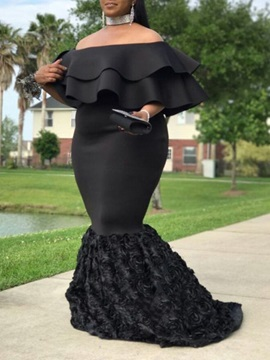 Mermaid Off-The-Shoulder Tiered Plus Size Evening Dress 2020