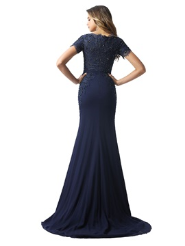 Short Sleeves Sequins Beading Lace Evening Dress 2020
