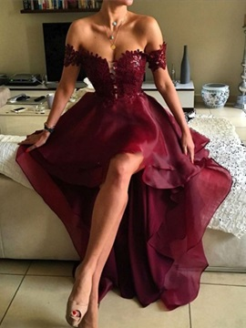 Off the Shoulder Tiered Short Sleeves High Low Prom Dress 2019