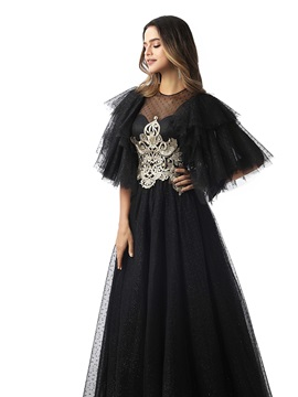 Short Sleeves Embroidery Lace Black Evening Dress 2020