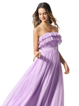 Strapless Tiered Ruched Lilac Prom Dress 2020