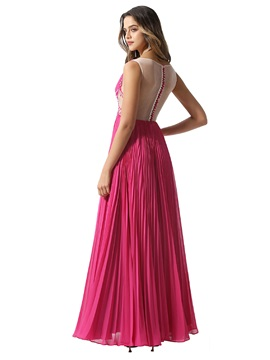 Illusion Bateau Neck Pleats Beading Prom Dress 2020
