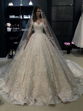 Vintage Sweetheart Ball Gown Lace Wedding Dress 2019