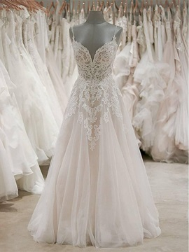 Beading Straps Appliques Low Back Wedding Dress 2019
