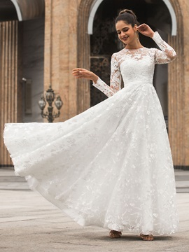 Lace Appliques Long Sleeves Wedding Dress 2020