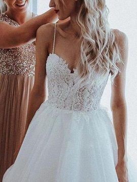 Beading Spaghetti Straps Appliques Garden Wedding Dress 2020