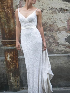 Spaghetti Straps Bowknot Low Back Sequins Wedding Dress 2020