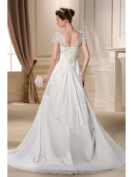 Graceful A-line V-Neck Floor-length Beading Short-Sleeves Chapel Train Bridal Gown