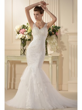 Attractive Trumpet/Mermaid Embroidery Spaghetti Straps Wedding Dress