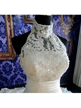 Stunning Beaded Halter Neck Tiered White Cathedral Wedding Dress