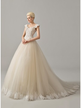 Sweetheart Beaded Appliques Cap Sleeve Wedding Dress