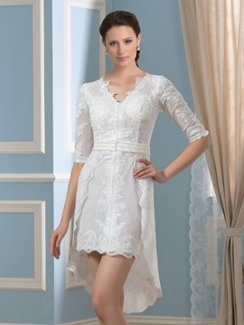 V-Neck Half Sleeve Asymmetry Pearls Lace Short Wedding Dress