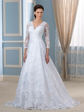 Deep V-Neck Appliques Sequins Wedding Dress with Sleeves