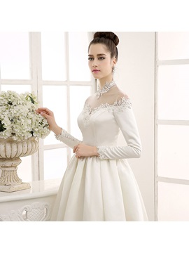 Floor Length A-Line Sheer Beaded Lace Appliques High Neck Long Sleeve Vintage Wedding Dress